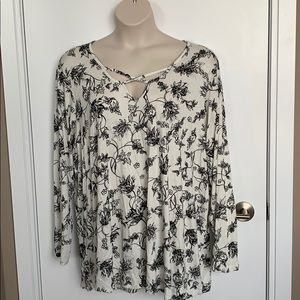 LILY MORGAN | 3X | Cream Long Sleeve Floral Blouse